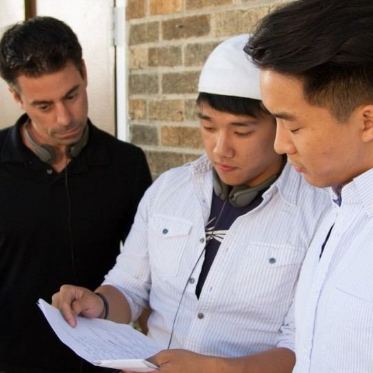 Brian directing his male lead Andrew Fung